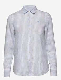 Kirsten Linen Stripe Shirt - chemises à manches longues - light blue