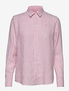 Kirsten Linen Stripe Shirt - long-sleeved shirts - pink