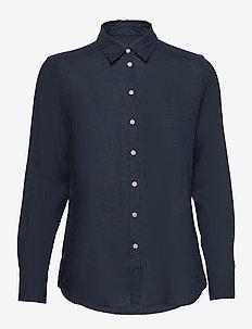Kirsten Linen Shirt - langærmede skjorter - navy