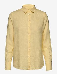 Kirsten Linen Shirt - long-sleeved shirts - yellow