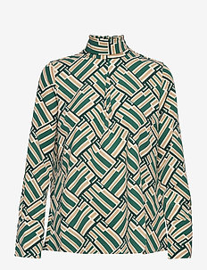 Aderyn Printed Blouse - blouses à manches longues - green