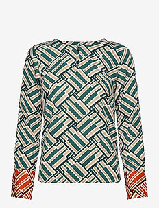 Simone Printed Blouse - long sleeved blouses - green