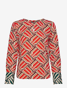 Simone Printed Blouse - blouses à manches longues - red