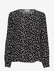 Ines Printed Blouse - långärmade blusar - black