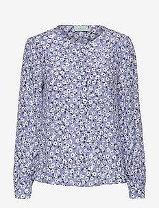 Ines Printed Blouse - långärmade blusar - blue