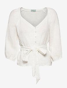 Jules Linen Blouse - långärmade blusar - off white
