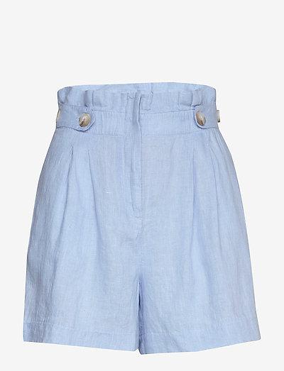Elsa Linen Shorts - paper bag shorts - blue