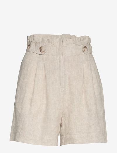Elsa Linen Shorts - paper bag shorts - khaki