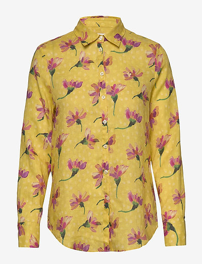 Kirsten Liberty Linen Shirt - langærmede skjorter - yellow