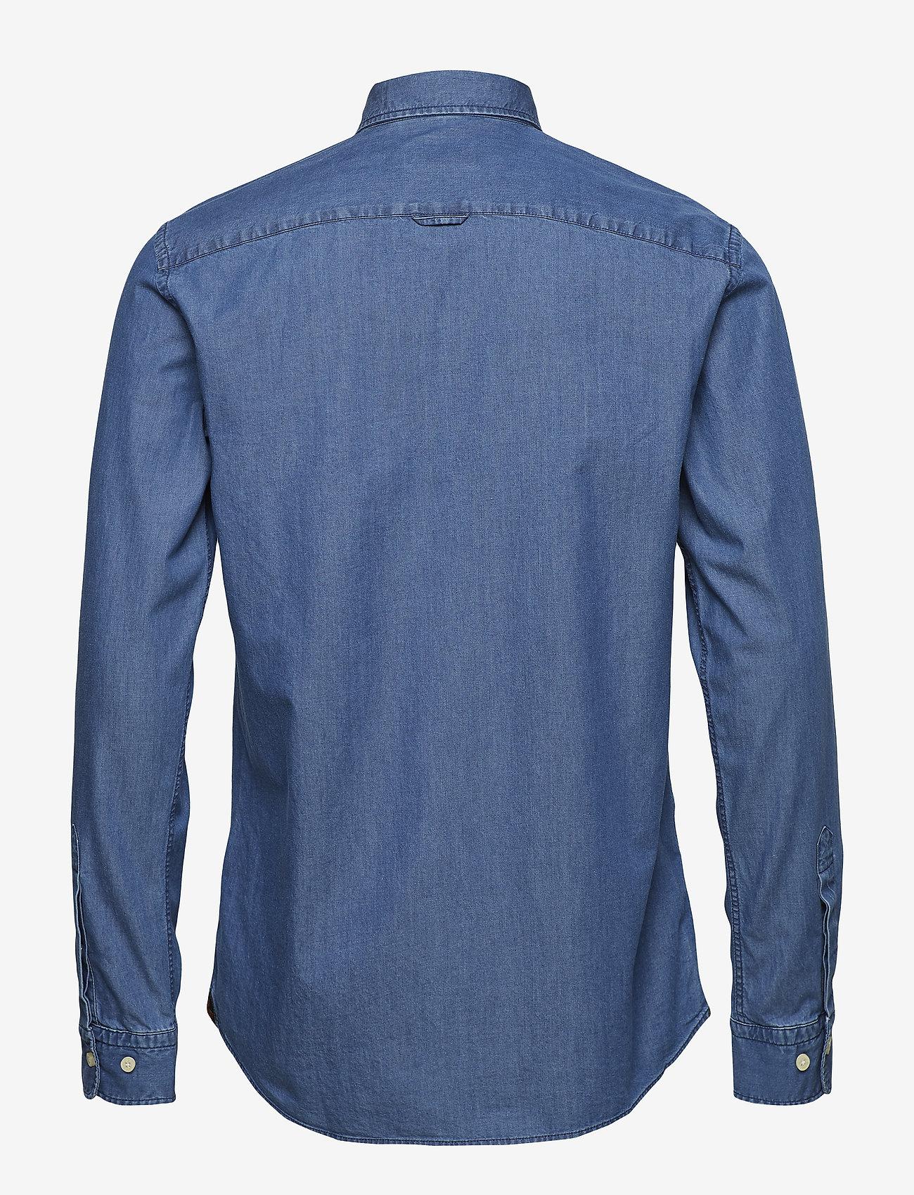 Morris - Julian Button Down Denim Shirt - farkkupaidat - blue - 1