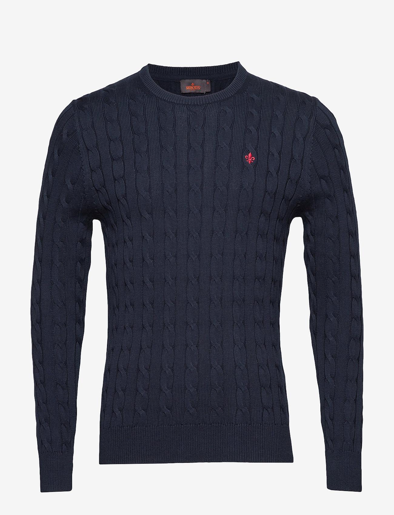 Morris - Pima Cotton Cable - basic knitwear - navy