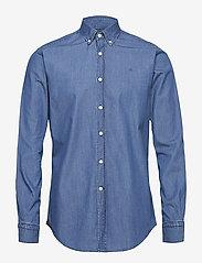 Morris - Julian Button Down Denim Shirt - farkkupaidat - blue - 0