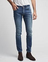 Morris - Steve Satin Jeans - skinny jeans - semi dark wash - 0