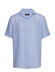 Harper Bowling Linen Shirt - LIGHT BLUE