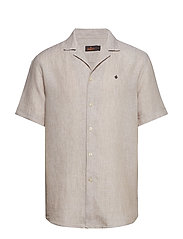 Harper Bowling Linen Shirt - OLIVE