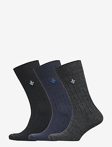 Morris Wool Rib Socks 3-Mix - NAVY