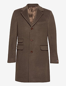 Wesley Wool Cashmere Coat - wool coats - brown