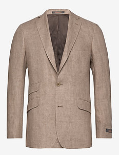 Azour Linen Blazer - single breasted suits - khaki