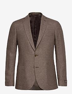 Sebastian Linen Blazer - enkeltkneppede blazere - brown