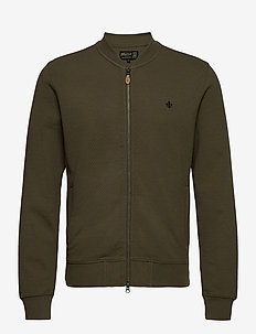 Redford Zip Cardigan - basic knitwear - olive