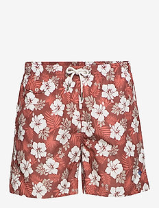 Hibiscus Bathing Trunks - casual shorts - red