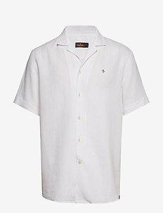 Harper Bowling Linen Shirt - WHITE