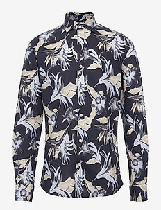 Harrison Spread Collar Shirt - hørskjorter - blue