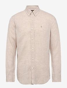 Douglas Linen Shirt - basic shirts - khaki