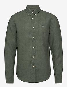Douglas Linen Shirt - podstawowe koszulki - olive
