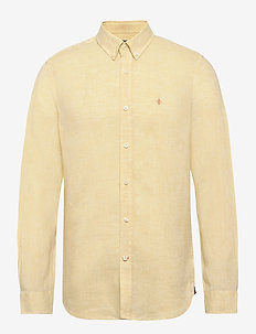 Douglas Linen Shirt - basic shirts - yellow