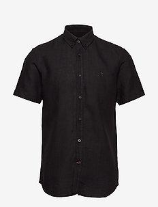 Douglas SS Linen Shirt - basic shirts - black