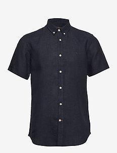 Douglas SS Linen Shirt - podstawowe koszulki - blue