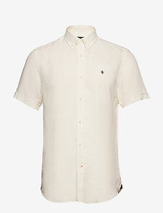 Douglas SS Linen Shirt - basic shirts - off white