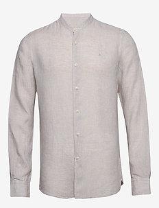 Nicolas Band Collar Shirt - basic skjorter - khaki