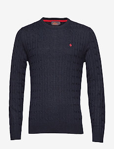 Merino Cable Oneck - basic knitwear - navy