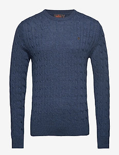 Merino Cable Oneck - BLUE