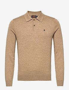 Merino Polo Shirt - basic knitwear - khaki