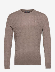 Merino Cable Oneck - tricots basiques - brown