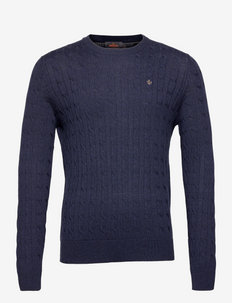 Merino Cable Oneck - tricots basiques - blue
