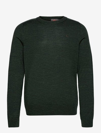 Merino Oneck - pulls col rond - olive