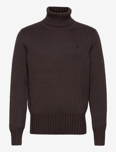 Henley Roller Neck - basic knitwear - brown