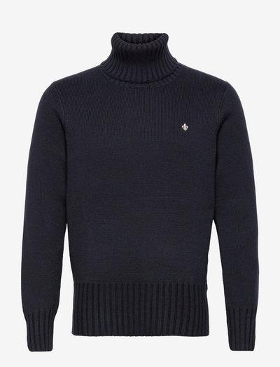 Henley Roller Neck - basic knitwear - old blue