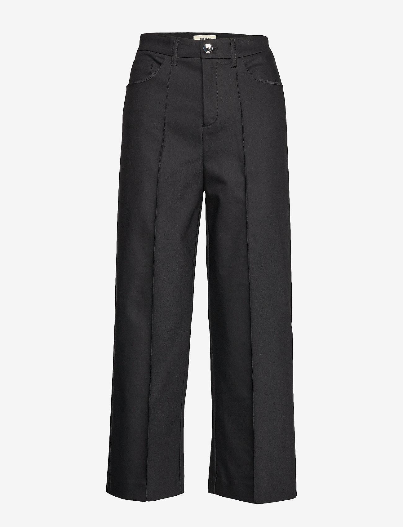 MOS MOSH - Como Night Pant Sustainable - bukser med brede ben - black - 0