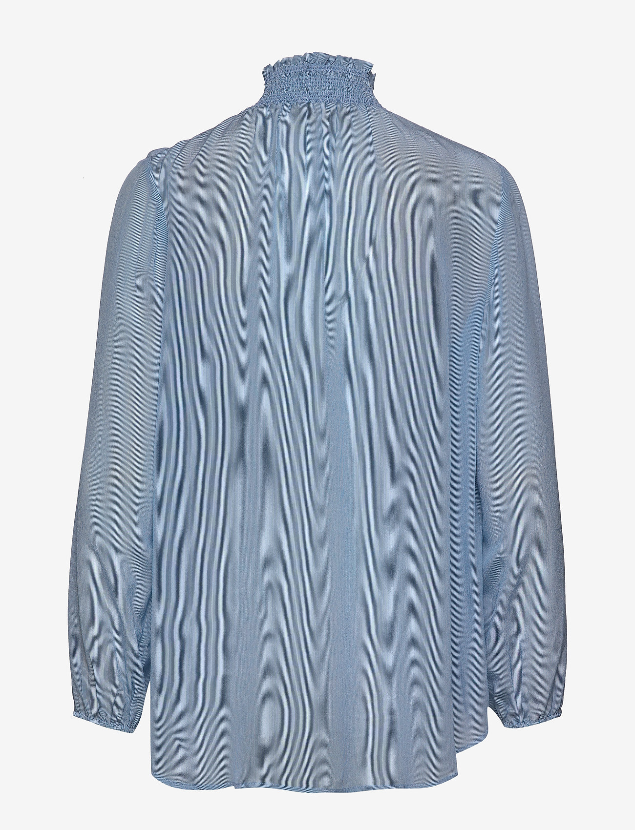 MOS MOSH Gallia Silk Blouse - Blouses & Shirts LIGHT BLUE STRIPE