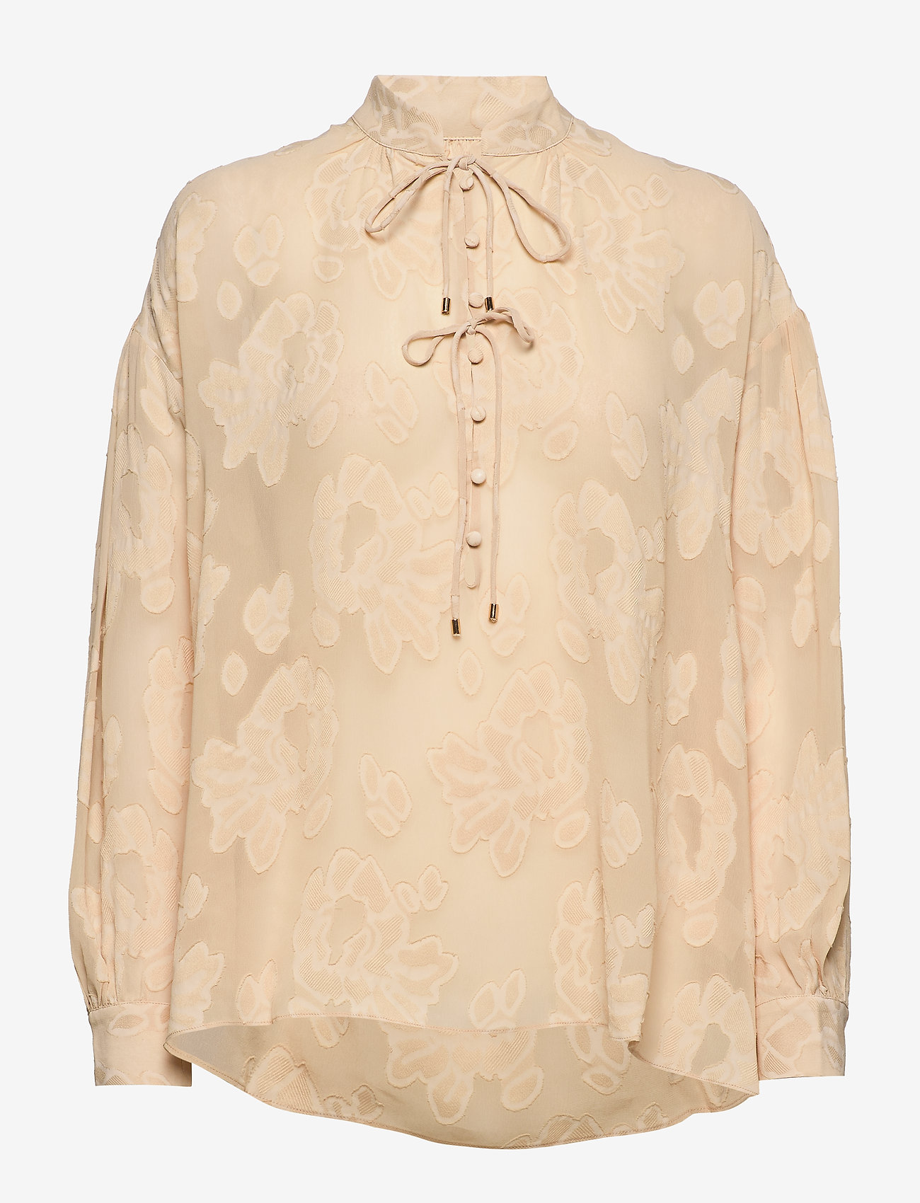 MOS MOSH - Iris Jacquard Blouse - blouses med lange mouwen - pebble - 0