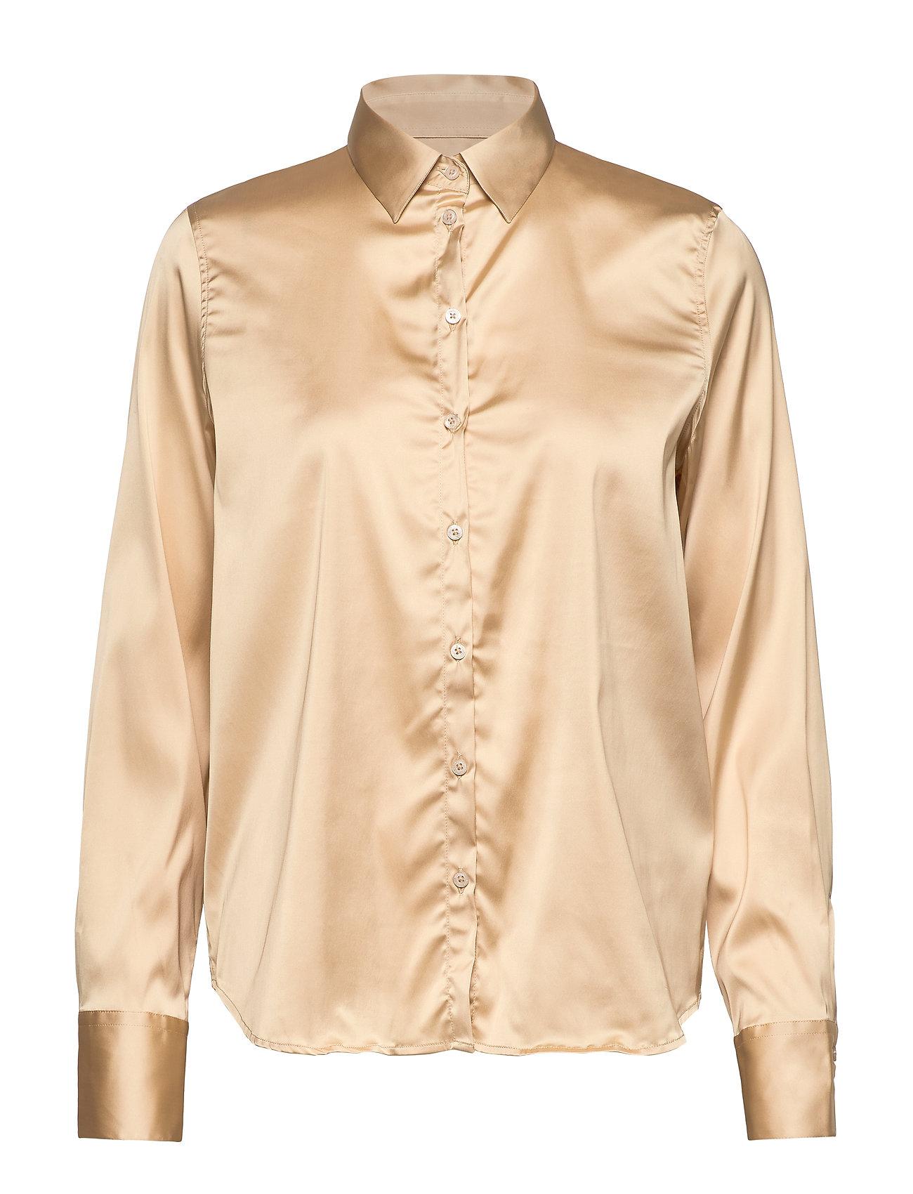 MOS MOSH Martina Satin Shirt - PEBBLE