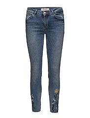 Victoria Flower Jeans - LIGHT BLUE DENIM