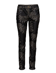Naomi Shine Printed Pant - BLACK