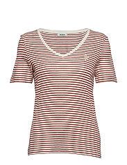 Kenia Glam Stripe V-neck - MARSALA