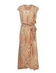 Alexa Swirl Dress - SUN ORANGE PRINTED